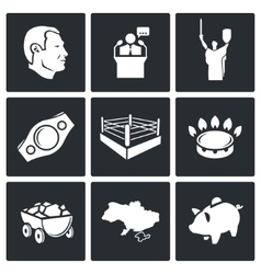 Ukraine Kiev industry sport Icons Set vector
