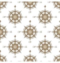 Vintage nautical compass seamless pattern vector image