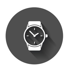 Watch icon clock flat with long shadow vector
