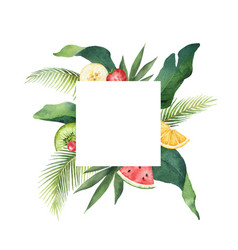 Watercolor frame green tropical leaves vector