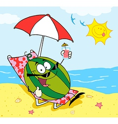 Watermelon Holding A Glass With Juice On The Beach vector image