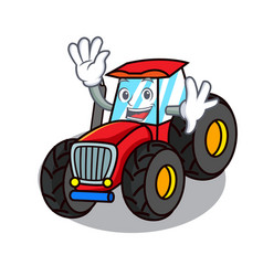 Waving tractor character cartoon style vector
