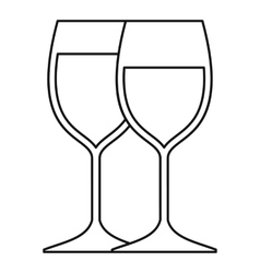 Wine glasses icon outline style vector image