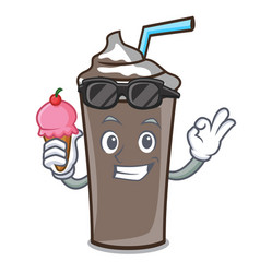 with ice cream ice chocolate character cartoon vector image