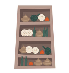 wooden cupboard with bowls cups and mugs vector image