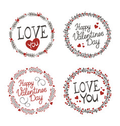 Wreaths for valentines day vector