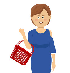 Young woman with empty shopping basket vector