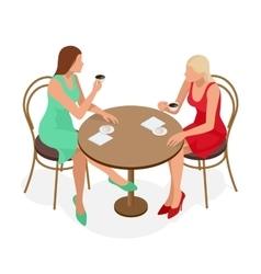 Coffee Beautiful Girl Drinking Tea or Coffee in vector image