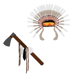 Feather headdress and tomahawn vector image