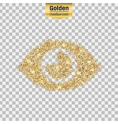 Gold glitter icon of eye isolated on vector