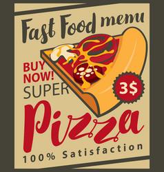 retro menu with slice of pizza vector image vector image