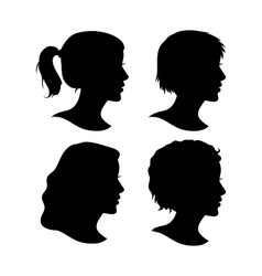 Set of Female Cameo Silhouettes vector image