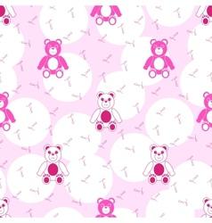 Teddy Bear Pink Seamless Pattern vector image