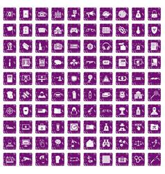 100 hacking icons set grunge purple vector image