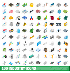 100 industry icons set isometric 3d style vector image