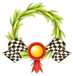 A ribbon with two racing flags vector image