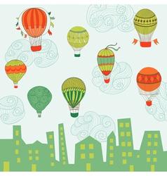 Cute air balloons background vector