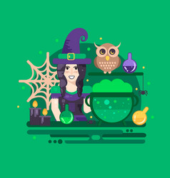 halloween poster with witch vector image