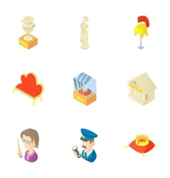 Historical museum icons set cartoon style vector image