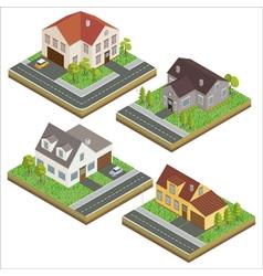 Modern house modern home isometric cottage set vector