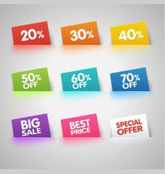Set of colorful Sale labels in pocket vector image