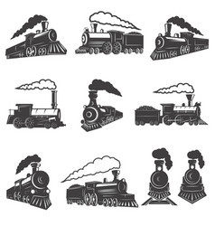 Set of vintage trains isolated on white background vector