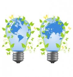 bulb globe blue leaves vector image vector image