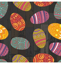 easter eggs seamless wooden background vector image vector image