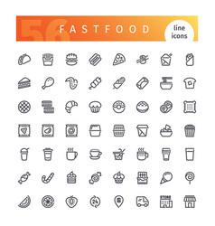 fastfood line icons set vector image