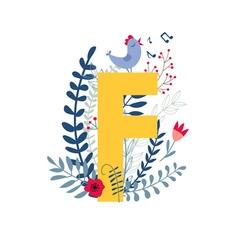 Floral alphabet letter f vector