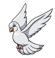 Flying white dove 2 vector image