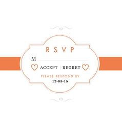 RSVP Wedding card orange style vector image vector image