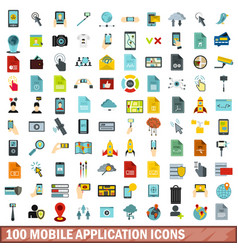 100 mobile application icons set flat style vector image vector image