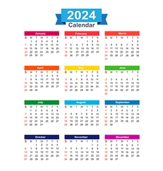 2024 Year calendar isolated on white background vector image vector image