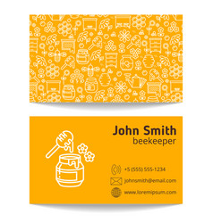 beekeeper apiary business card template vector image vector image