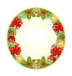 Button circular Christmas Spruce with red ribbons vector image vector image