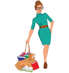 Cartoon young woman holding big bag full of books vector