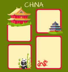 china poster with empty spaces and oriental signs vector image
