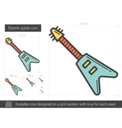 Electric guitar line icon vector image vector image