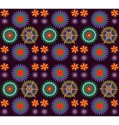 Flowers on dark background pattern vector image vector image