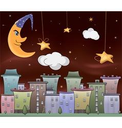 Night city cartoon vector image
