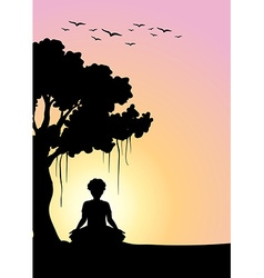 Silhouette man meditating under the tree vector image vector image