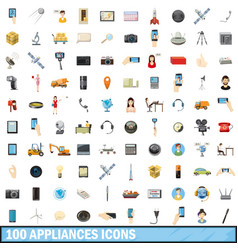 100 appliances icons set cartoon style vector image