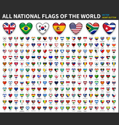 All national flags world heart button vector