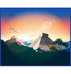 Ancient Mayan pyramids vector