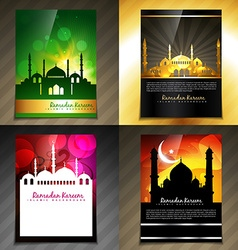 attractive set of brochure of eid festival vector image