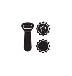 beer opener bottle caps black concept icon vector image