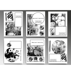 Black and white marbling posters vector