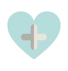 blue heart with cross form vector image