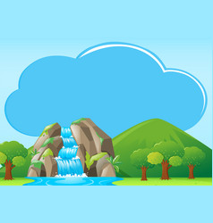 Border template with waterfall in backgroud vector
